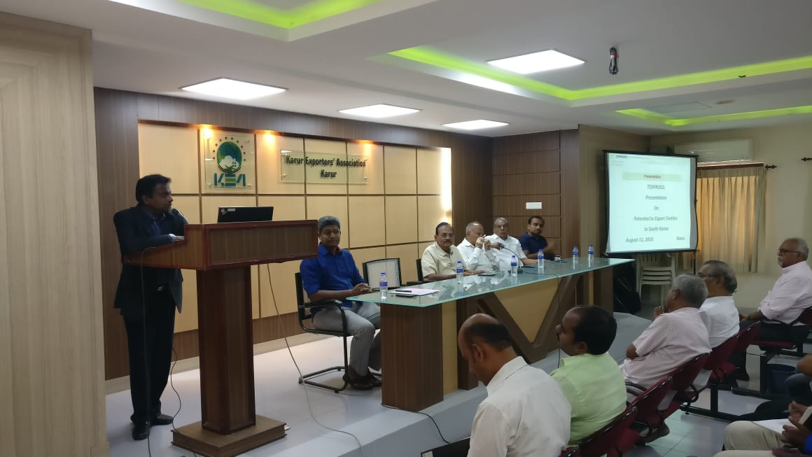 TEXPROCIL conducts interactive meeting with exporters in Karur on 11th August 2018 on