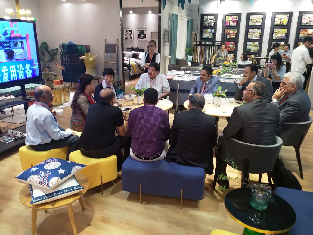 TEXPROCIL trade delegation meets with Ms Ni, President of Heniemo Hi me Collection Co Ltd  on 27th August 2018 at Inter Textile Home Fair, Shanghai and discuss advantages of Indian Yarns for their home products manufacturing.