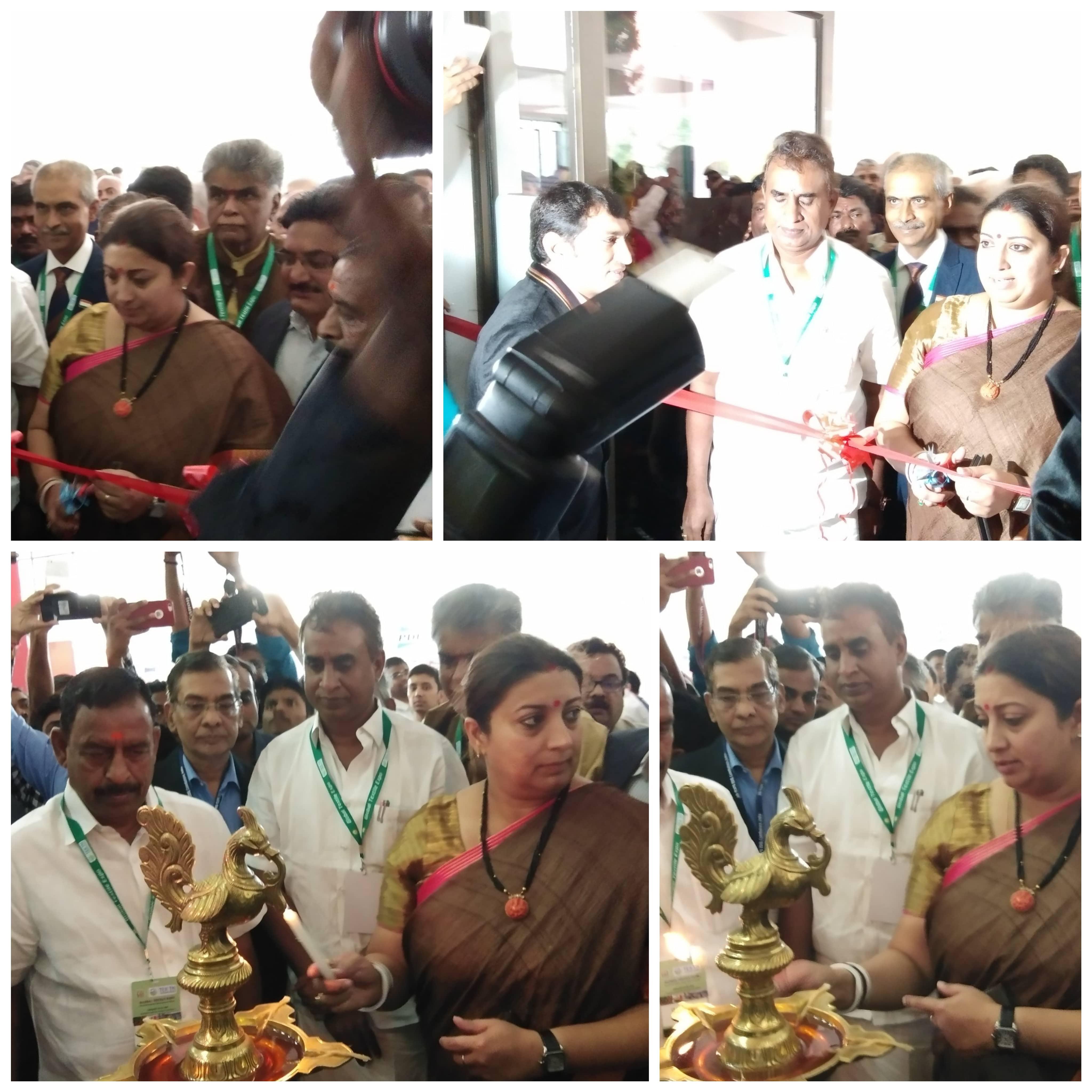 Hon'ble Union Minister of Textiles, Smt.Smriti Zubin Irani inaugurating Hall D of IND-TEXPO 2019 at Codissia Centre, Coimbatore.