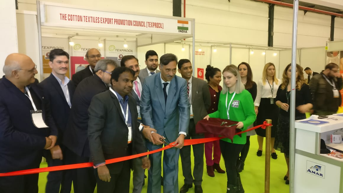 Inauguration of Indian Pavillion by Consulate General of India Mr. Purnojyoti Mukherjee at Istanbul Yarn Fair in Turkey 2019