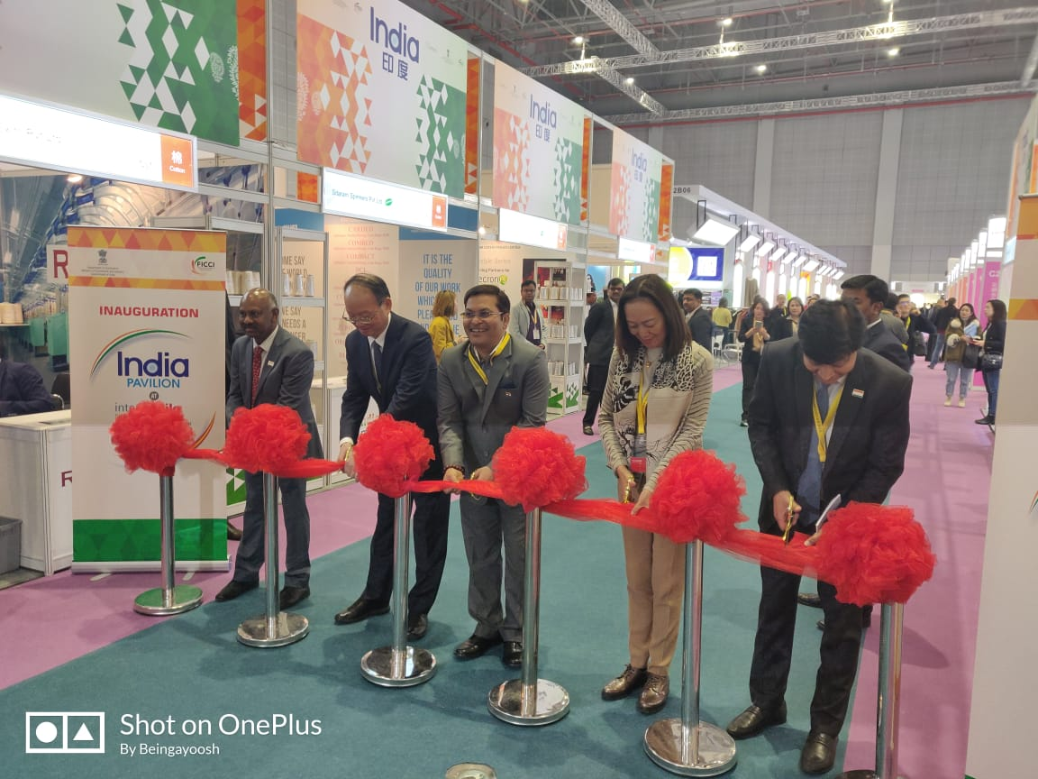 Inaugural of India Pavilion at Yarn Expo & Intertextile 2019 by Mr. Anil Kumar Rai, Consul General of India at Shanghai,  Mr. Gao Yong - SG China National Textile and Apparel Council and Others