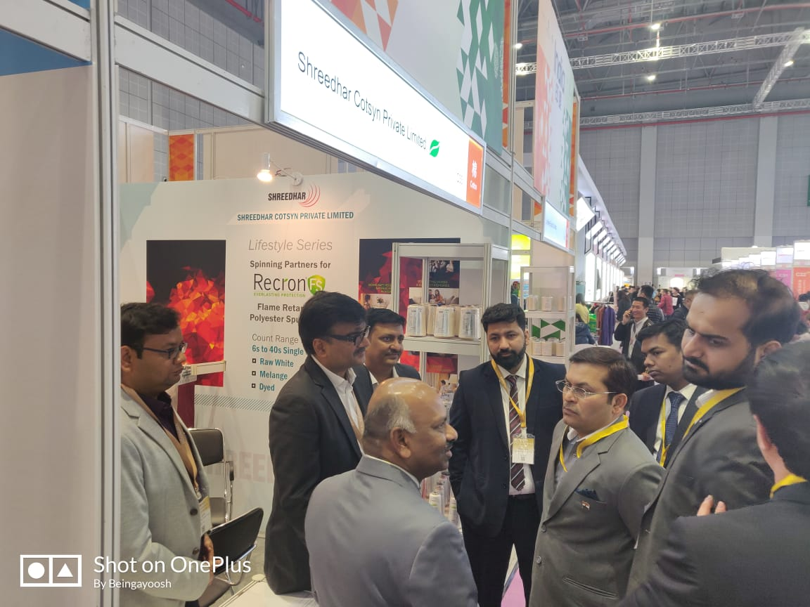 Mr. Anil Kumar Rai, Consul General of India, interacting with the Indian Exhibitors at Intertextile Shanghai 2019, at National Exhibition and Convention Center, Shanghai, China