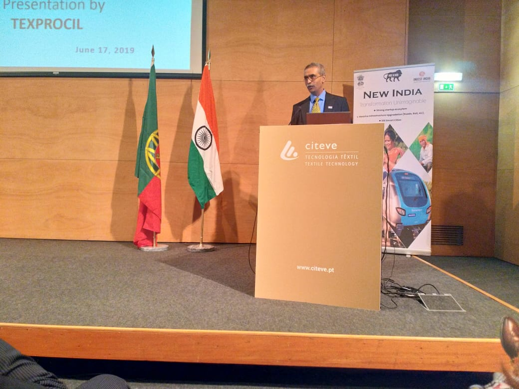 Dr K. V. Srinivasan, Chairman, TEXPROCIL addressing the textile importers at the BSM being held on 17 & 18 June 2019 at Porto, Portugal