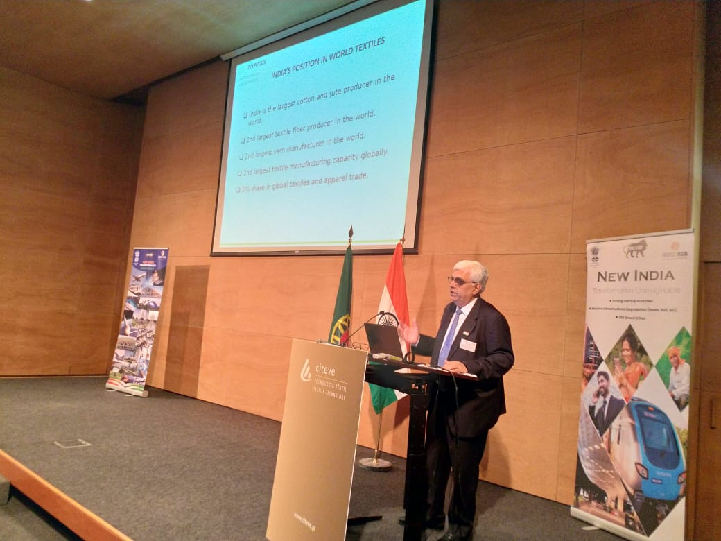 Dr. Siddhartha Rajagopal, Executive Director, TEXPROCIL making a presentation on advantages of Indian textile industry, at BSM being held on 17&18 June 2019 at Porto, Portugal