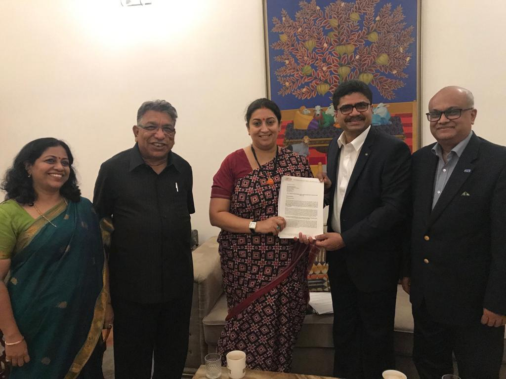 Delegation from TEXPROCIL and CITI in a meeting with Smt. Smriti Zubin Irani, Hon'ble Minister of Textiles and Women & Child Development in New Delhi on 18th Sept. 2019