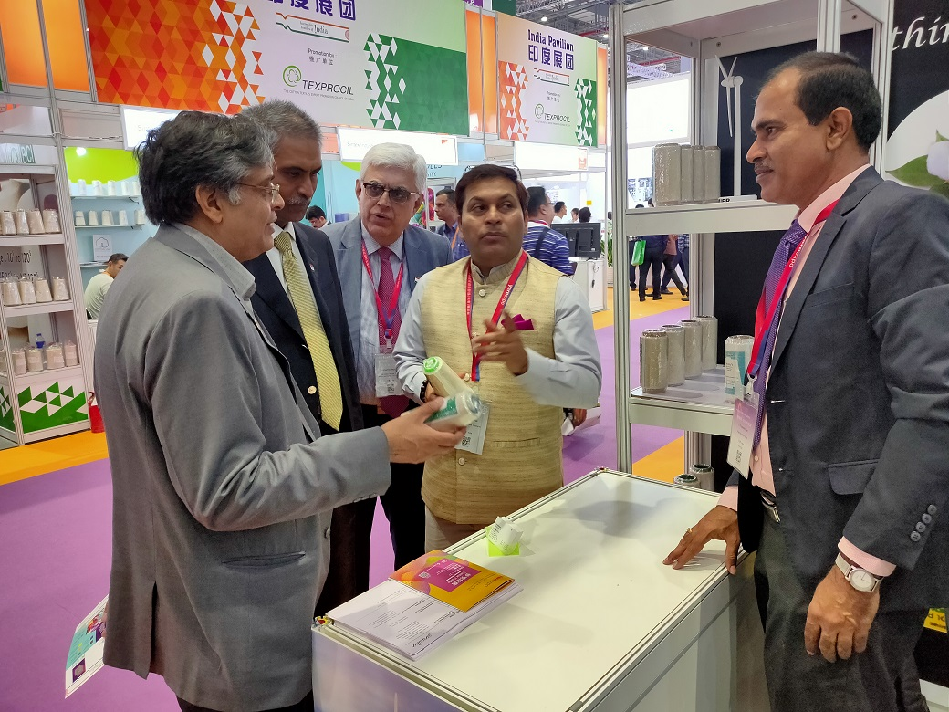 Mr. Anil Kumar Rai, Consul General of India, interacting with the Indian Exhibitors at Intertextile Shanghai 2019 held during September 25-27, 2019