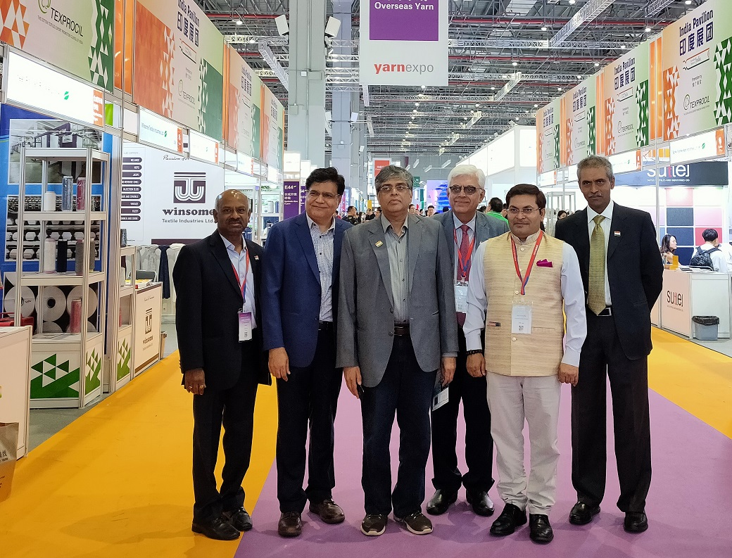 Govt Officials visit the India Pavilion set up by TEXPROCIL during Yarn Expo & Intertextile Fairs, Shanghai held during Sept 25-27, 2019