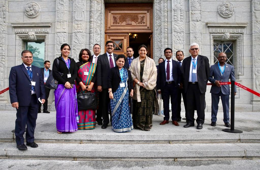 Smt. Smriti Zubin Irani, Hon'ble Minister of Textiles and Women & Child Development represents India at World Cotton Day Celebrations on 7th October 2019 at WTO in Geneva