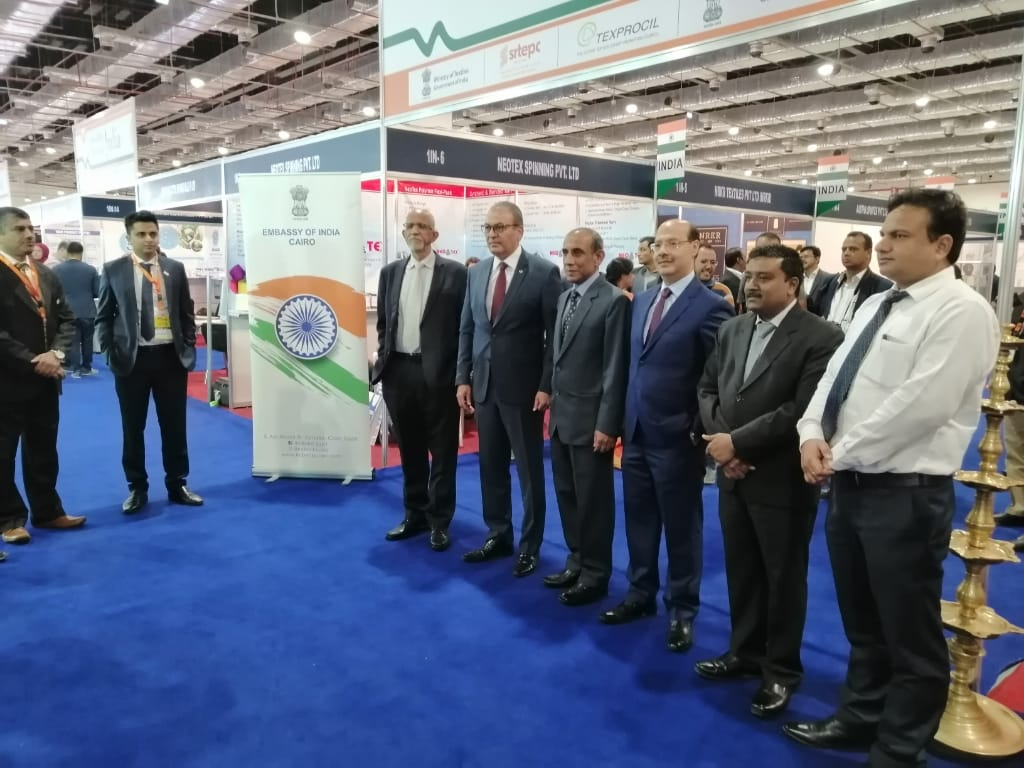 India's  Ambassador to Egypt H.E Shri Rahul Kulshreshth along with Shri Nihar Ranjan Dash, Joint Secretary, Ministry of Textiles visited the Indian pavilion at the 65th Cairo Fashion and Tex Fair in Cairo International Convention Centre