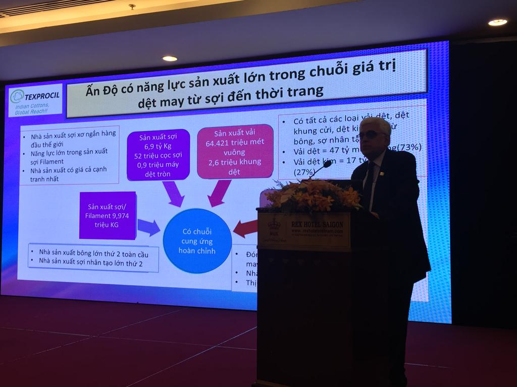 Dr. Siddhartha Rajagopal, Executive Director, TEXPROCIL made a presentation at the Networking session organised by the Consul General of India Office in Ho Chi Minh City during the Vietnam Textile and Garment Industry Exhibition, November 2019