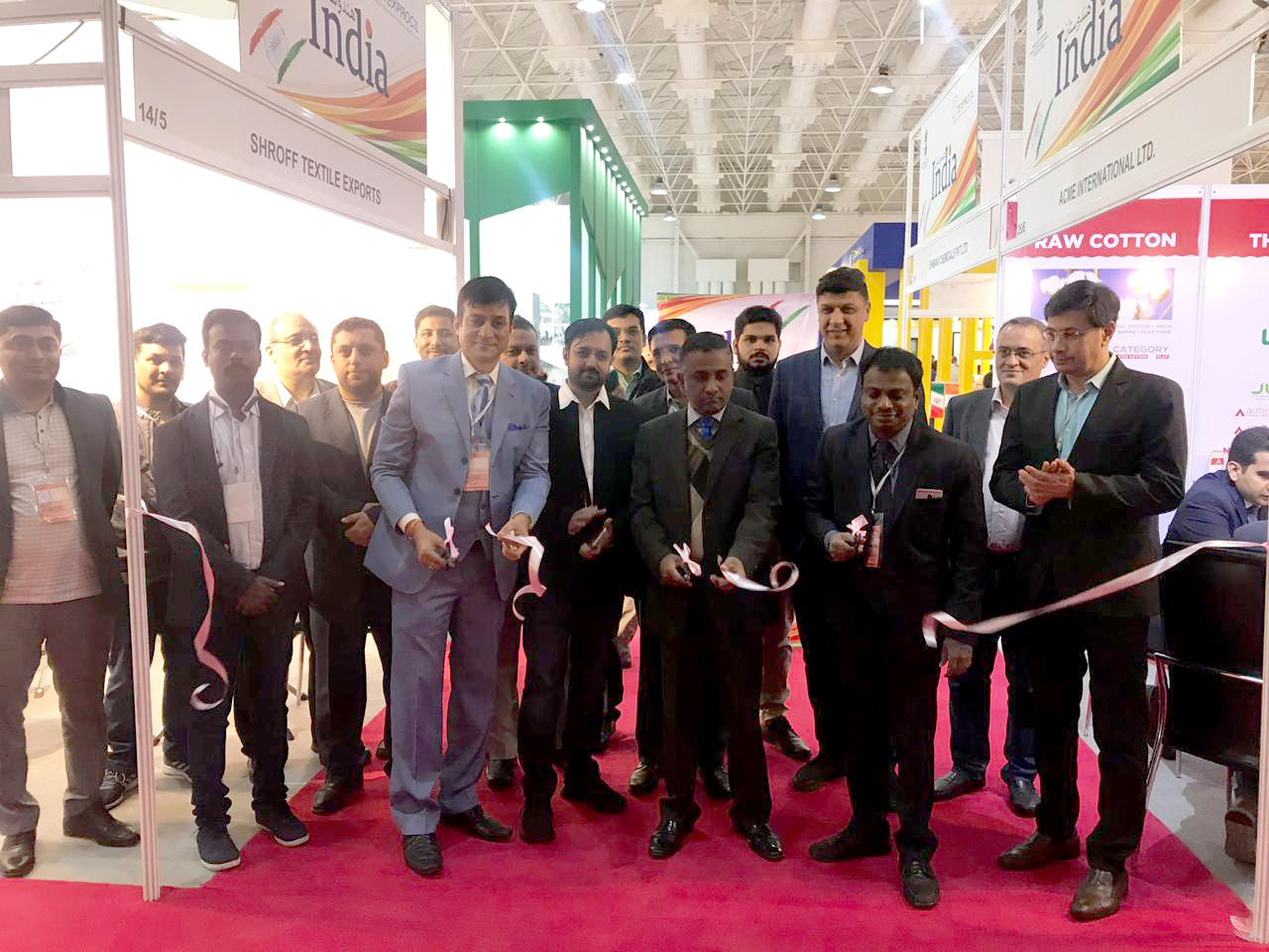 Shri Vinay Kumar, Consul (Commercial) (6th from Right) from the Indian Embassy in Tehran inauguratng the Indian Pavilion during IRANTEX 2019 Textiles Exhibition