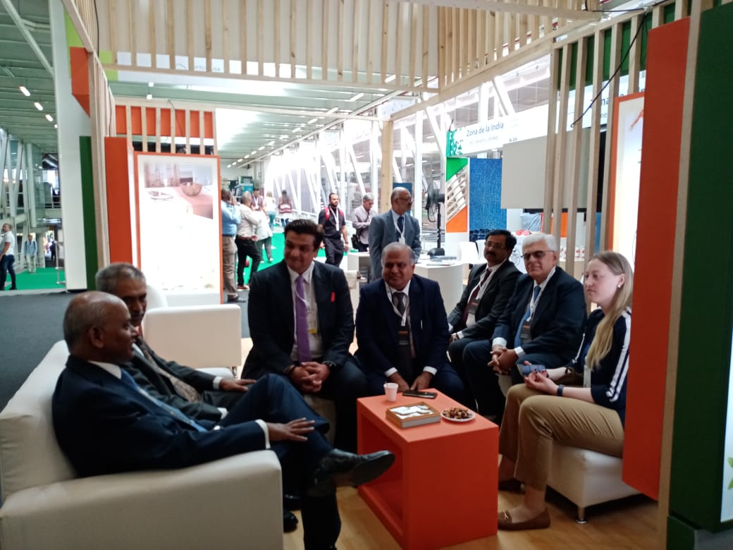 HE Shri Sanjiv Ranjan, Ambassador of India to Colombia visiting India Pavilion at ColombiaTex being held at Medellin, Colombia from 21 to 23 January 2020