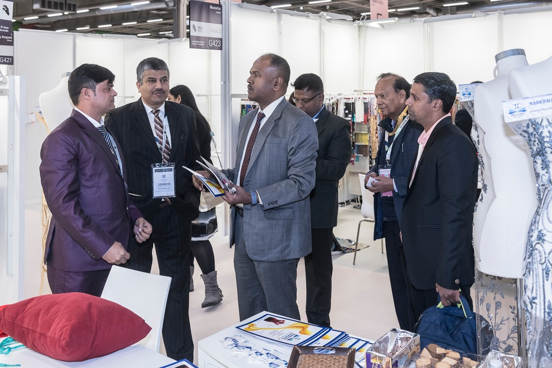 Mr. Premanand Jothy First Secretary (ITOU/E&C) & Head of Economic and Commercial Wing, Embassy of India in Paris interacting with the Indian Exhibitors at Texworld and Apparel Sourcing Fair being held in Paris from 10 to 13 February 2020