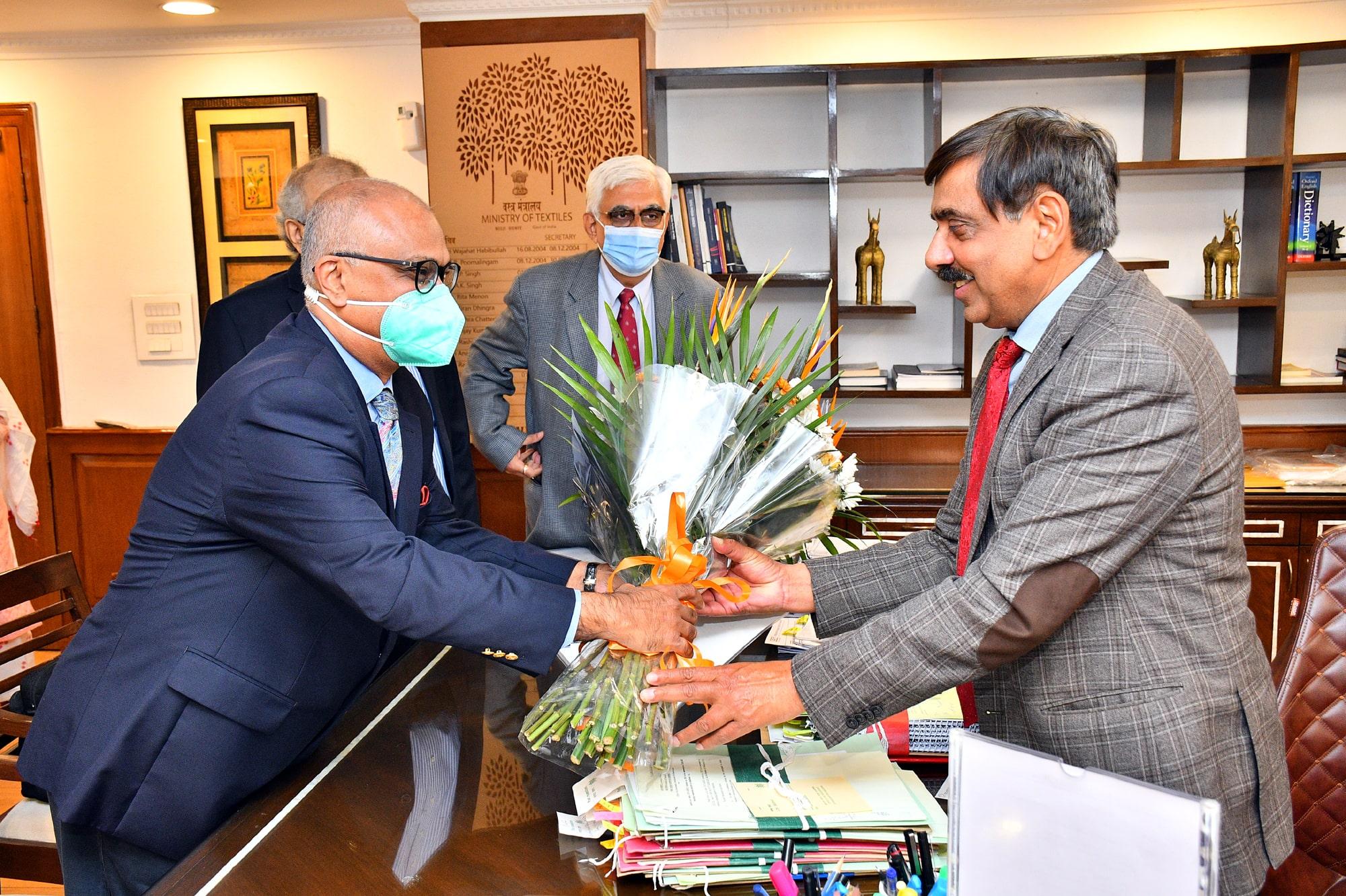 TEXPROCIL Delegation meets Shri Upendra Prasad Singh, Secretary, Textiles at his office in New Delhi on Feb 9, 2021